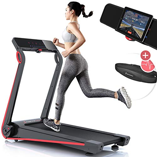 Sportstech F17 Edles Laufband mit App und Easy-Folding System kein Aufbau nötig, Schmiersystem, 12 KM/H, 2.5PS, Pulsgurt Inklusive, Tablet-Holder, Heimtrainer, klappbar für Cardio-Training