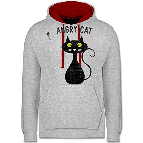 Nerds & Geeks - Angry Cat - Nerdy Cats - Kontrast Hoodie Grau Meliert/Rot