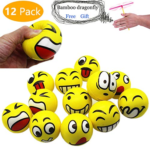 MIMIEYES Emoji Gesicht Squeeze Bälle, Finger Übung / Stress Relief Emotionale Spielzeug (12 Stück) - Emojis Stress-bälle