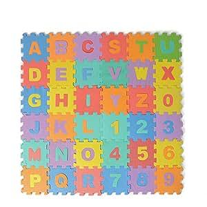 Soledi puzzle tapis mousse b b alphabet et chiffres 16 x 16 x0 8 cm enfant b - Tapis mousse alphabet ...