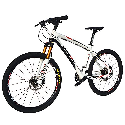 BEIOU Carbon Fiber Mountain Bike Hardtail MTB SHIMANO M610 DEORE 30 Speed Ultralight 10.8 kg RT 26 Professional External Cable Routing Toray T800 CB005 (Red, 19-Inch)