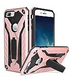 TITACUTE Kompatibel mit iPhone 7 Plus Hülle, Hartplastik-Hartschalen-Schutzhülle für Dual Layer + Weicher TPU-Koffer Tough Armor Case mit Ständer für Apple iPhone 7 Plus Rose Gold