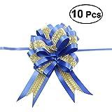 rosenice 10unids Ruban de ruban de voiture Noeud géant pour cadeau anniversaire mariage fête (Bleu marine)