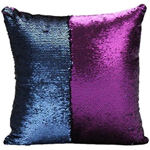 Fundas de Colchón Almohada Cintura Estuche Amortiguador Cubierta Almohadilla Reversible Lentejuelas Satén Decoración Cama Sofá - Púrpura