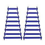 Newkeen No Tie Lacci per scarpe per bambini e adulti - Impermeabile in silicone elastico piatto Laces Athletic scarpa da corsa con multicolore per Scarpe Sneakerboots bordo e scarpe casual (Dark Blue)