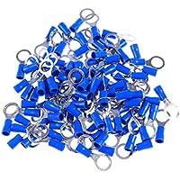 Hemobllo Terminales aislados 100pcs Conectores de crimpado Juego de horquillas de anillo de pala a tope con estuche de almacenamiento (azul)