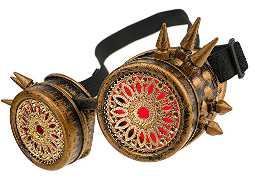 MFAZ Morefaz Ltd Welding Cyber Goggles Schutzbrille Schweißen Sonnenbrille Steampunk Goth Round Cosplay Brille Party Fancy Dress (Gold Spikes Design) (Steam Punk Brille)