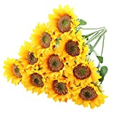 Tifuly 10pcs Artificial Sunflowers, 16.9 inch Single Stem Realistic Silk Fake Sunflower for Home Hotel Office Wedding Party Garden Decor, Floral Arrangement,Centerpieces