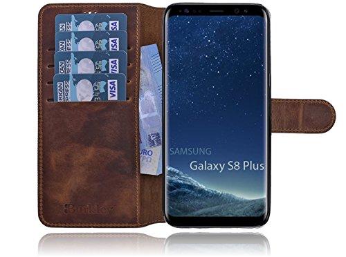 Burkley Samsung Galaxy S8 Plus (G955) Hülle Premium Handyhülle | Ledertasche | Handytasche | Schutzhülle | Book Cover | Case | Etui mit bruchfester Innenschale und Standfunktion (Cognac)