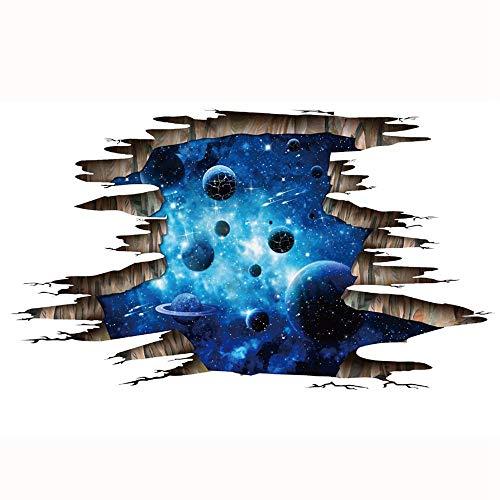 JUNMAONO 3D Wandaufkleber Dunkelblau Galaxy Planet PVC Abnehmbare Dreidimensionale Aufkleber Dekorative Malerei Wandtattoo WandgemäLde Pvc Dekor Vinyl Aufkleber 60 * 90 cm (Galaxy Vinyl-aufkleber)