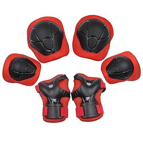 Kinder Protektorenset mit 2xKnieschoner,2xEllenbogenschützer,2xHandgelenkschoner Schutzausrüstung für Kinder Roller Skating Ice Skate Skateboard Inlineskates Outdoor Sport Pad Set,Rot