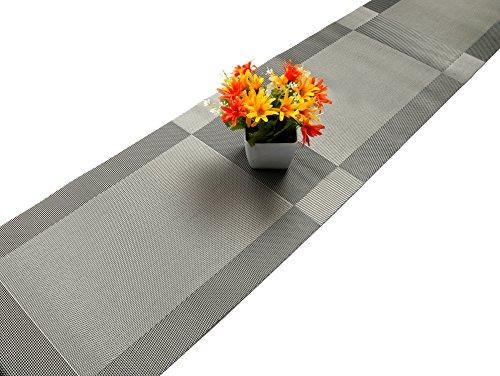 U 'artlines chemin de table tressé en vinyle antidérapant isolation thermique lavable chemin de table gris 30x180cm
