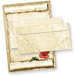 TATMOTIVE Briefpapier Set ROTE ROSE (25 Sets) einzigarties Motivpapier, Briefpapiere mit Umschläge