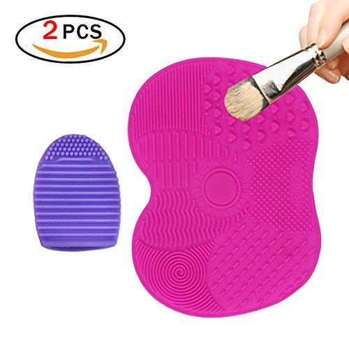 JER Make-up Pinsel Reinigung Set, 2 Stk Silikon Pinselreiniger Apfelform Kosmetik Pinsel Matte Finger Glove Reinigungswerkzeug
