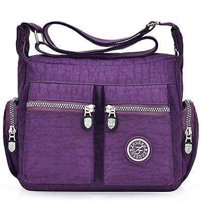 Women's Casual Multi Pocket Nylon Cross Body Shoulder Bag Messenger Bags Handbag Tote Purse