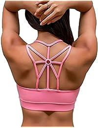 123de54c7d YIANNA Womens Sports Bra Padded Elastic Breathable Wireless High Impact Yoga  Bra Top
