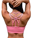 YIANNA Frauen Komfort Sport BH Starker Halt Gepolsterter Push up ohne Bügel Bustier Stretch Sports Bra Top Fuer Yoga Fitness-Training,UK-YA-BRA139-Pink-XL