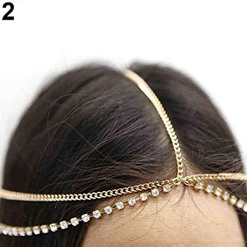 Ogquaton Lady Bohemian Fashion Rhinestone Capas de Cabeza en Capas Headpiece Hair Band Jewelry Gold