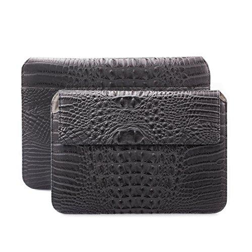 iCues Schutzhülle kompatibel mit Apple iPad Mini 4 Case | Samsung Galaxy Tab S2 8.0 Tasche | 6.9 bis 8.0 Zoll Tablet Piquante Etui Croc Anthrazit | Sleeve Hülle Case Leder Schutz Krokodil Schlange