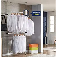 Heavy Duty Portable Garment Rack, Telescopic Clothes Wardrobe 2 Poles 2 Bars, Wardrobe Organiser Movable Clothes Hanging Rail, High Ceiling up to 3.2m, Free Reach Hook