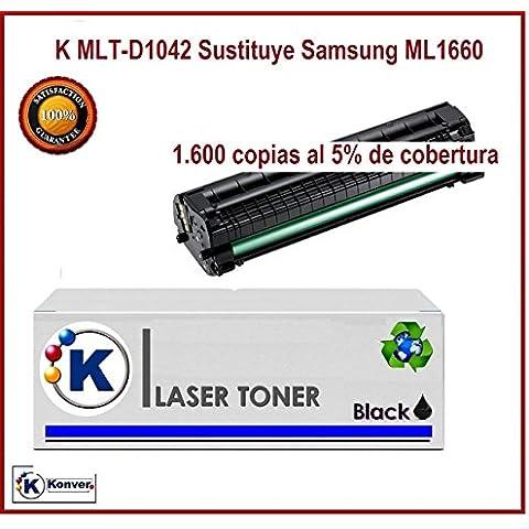 Toner Reciclado K-MLT-D1042 Compatible con Impresoras Samsung: ML 1660, ML 1661, ML 1665, ML 1660N, ML 1666, ML 1670 ML 1675, ML 1860, ML 1865, ML 1865W, Scx 3000, Scx 3200, Scx 3200W, Scx 3205, Scx 3205W. Enviado por KONVER desde