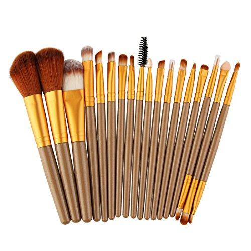 2017 nouveaux Mode. Xshuai® 18 pcs Lot de brosse de maquillage outils Maquillage Toilette kit Laine Make Up Lot de pinceaux pour fond de teint sourcils Eyeliner Lip Blush cosmétiques Anti-cernes brosses, doré, Size:19.5*10*1.8cm