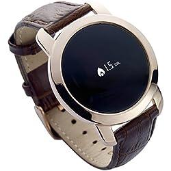 MyKronoz ZeCircle Premium Flat - Pulsera de actividad y sueño con notificaciones, color marrón y oro