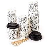 100 Bicchieri Carta per Prendere il Caffè – Tazza con Coperchio di 8 Oncia per Prendere il Caffè con le Stiratrici di Legno per il Prendere il Caffè, il Tè, le Bevande Calde e Fredde