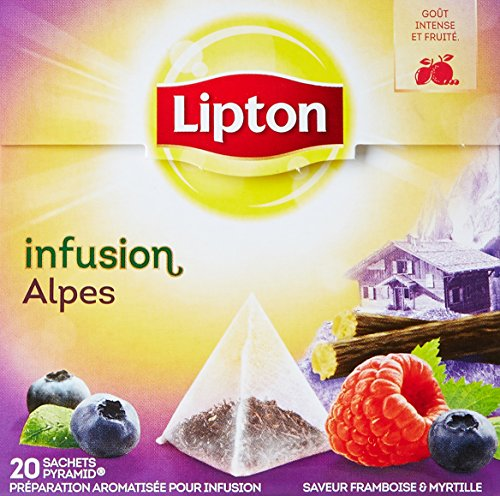 Lipton Infusion Alpes Framboise Myrtille 20 Sachets 44g - Lot de 3