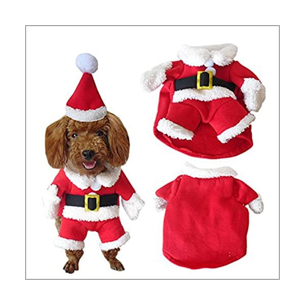 ROKOO Pet Christmas Costume Dog Suit with Cap Santa Claus Coat Hoodies for  Small Dogs Cats Funny Puppy Christmas Party Clothes ca887e918