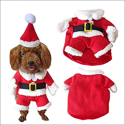ROKOO Pet Christmas Costume Dog Suit with Cap Santa Claus Coat Hoodies for Small Dogs Cats Funny Puppy Christmas Party Clothes