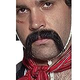 Smiffys Déguisement Homme, Moustache en guidon authentique de Mexicain de Western, Autocollante, Couleur: Noir, 31130