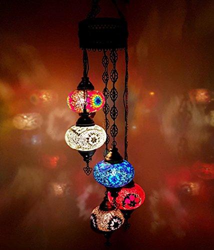 Turkish Moroccan Handmade Ottoman Hanging Tiffany Style Glass Mosaic Chandelier Lamp 5 Bulb Ball - 5 in 1 CHAND 17cm