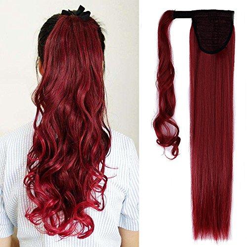 58cm extension clip coda di cavallo capelli sintetici lunghi lisci ponytail extension - rosso scuro