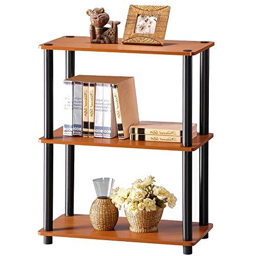 LiSun Regal dreistufiges Bücherregal Einfaches Aufbewahrungsregal Schuhregal Kirschbaum Farbe