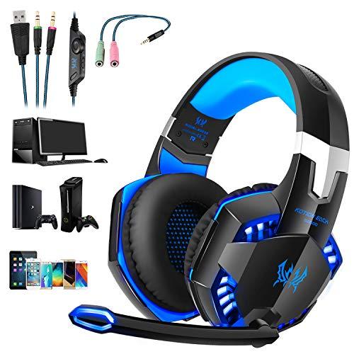 , Tsing Professionelle Gaming Kopfhörer mit Mikrofon, 3.5mm On Ear Surround Sound Ohrhörer mit Bass-Stereo Lautstärkeregelung für PC Laptop Tablet Mobile Phones Blau ()