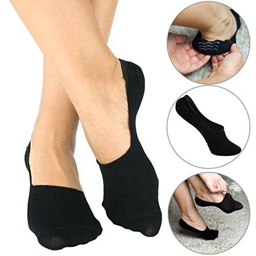 Bambus Füsslinge - Damen und Herren - Sneaker - Kurze Socken - 6 Paar (35-38, Schwarz) (Schwarz Damen Bambus)