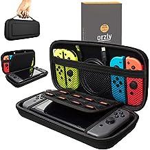 Orzly Etui Rigide en EVA pour Nintendo Switch – Housse Rigide de Rangement Zippée en Matériau Durable Anti-Choc pour la console Nintendo Switch et ses accessoires - NOIR