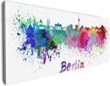 Wallario XXXL Riesen- Leinwandbild Städte als Aquarell - Skyline von Berlin - 80 x 200 cm Brillante lichtechte Farben, hochauflösend, verzugsfrei