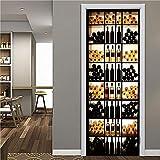 3D Porte Stickers Muraux Cave À Vin Créative Qualité Pvc Auto-Adhésif Imperméable Amovible Art Pour La Maison Décoration Salon Chambre À Coucher Murale