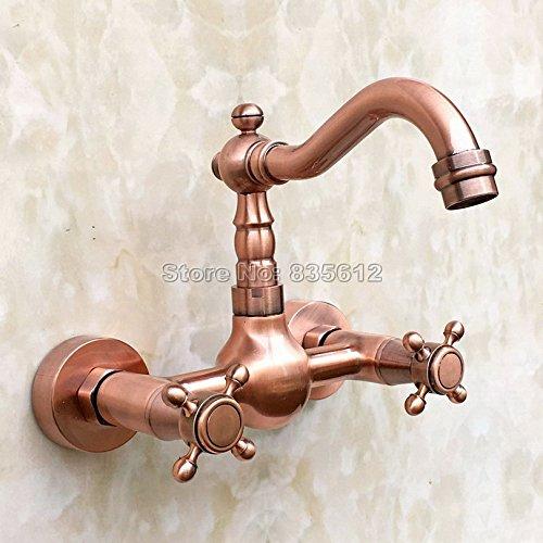 Antiquariato TougMoo Rame Rosso becco orientabile Kitchen Sink Basin rubinetto & bagno lavandino nave a croce doppia rubinetti miscelatori montato a parete