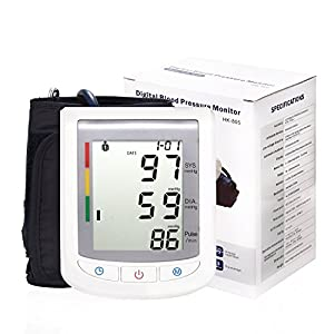 Upper Arm Blood Pressure Monitors With Dual-Size Cuff and Large LCD Display and Soft Storage Case and Batteries (Include)