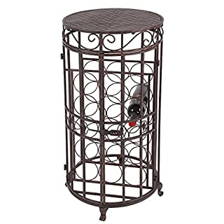 Ambiente Haus 95290Bottle Stand/Table, 32-Inch, Antique Brown