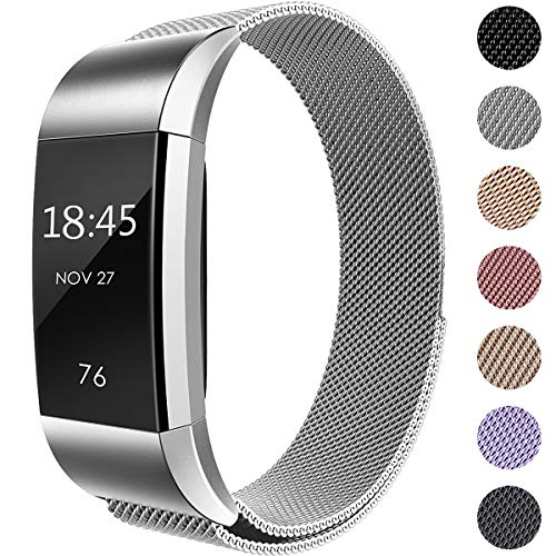 Hamile Kompatibel für Fitbit Charge 2 Armband, Metall Armband, Edelstahl Sport Ersatzarmband für Fitbit Charge 2 Fitness Tracker, Klein Silber