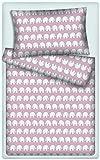 Kinderbettwäsche Elefanten 2-tlg. 100% Baumwolle 40x60 + 100x135 cm mit Reißverschluss (rosa)