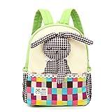Netter Mädchen-Rucksack,Kinder Leinwand Schultasche Kleinkind Rucksack Rucksack Kindergarten Vorschuler Schultertasche,Schöne 3D-Kaninchen (2-7 Jahre alt) - Grün
