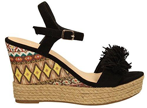Adele Aztec Femme Talons Hauts Mesdames Espadrille Wedge Sandales Chaussures de plage fête d'été sangle de cheville taille–SwankySwans Noir - noir