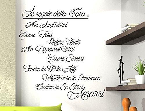 Stickerdesign wall stickers adesivo murale frase regole for Regole per casa