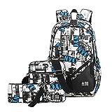 Mocael Rucksack-Set 3-tlg Leinwand Schulrucksack Jungen Rucksack Schultasche mädchen Daypacks Laptoprucksack wasserdicht Schulranzen schoolbag Herren Backpack 15 (weiß)