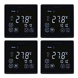 WELQUIC 4 Stück/Set Thermostat Raumtemperaturregler Touchscreen Raumthermostat LCD Display Digital Smart Programmierbares Heizkörper-Thermostat Fußbodenheizung Wasserheizung Wandheizung